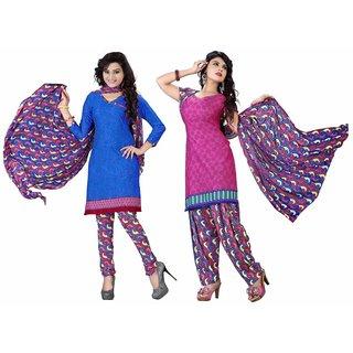 Manvaa Blue Printed Crepe Churidar Dress Material