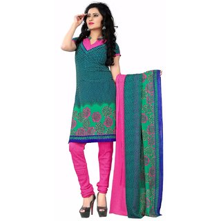 Manvaa Green Printed Georgette Chudidar Dress Material
