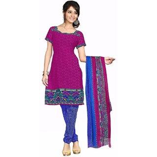 Manvaa Pink Printed Crepe Chudidar Dress Material