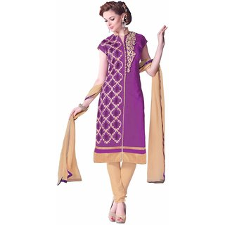 Manvaa Purple Embroidered Cotton Chudidar Dress Material