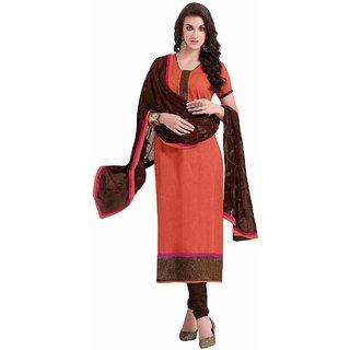 Manvaa Orange Printed Cotton Straight Dress Material