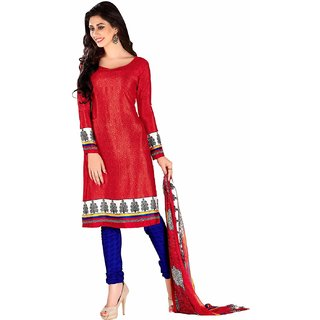 Manvaa Red Printed Crepe Chudidar Dress Material