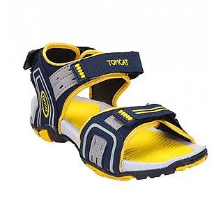Tomcat Mens Blue  Yellow Velcro Sandals