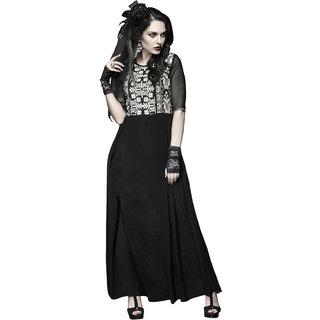Vastrani Black Embroidered Georgette Party Wear Kurti 46K264