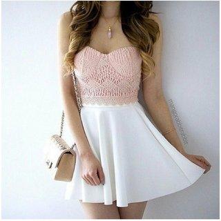 Pink n White Skirt Top