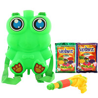 DealBindaas Holi Water Pichkari BACK PACK Tank Squirter FROG With Gulal Assorted Color