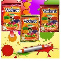Vedant Herbal Gulal Pouch Pack 3 Pcs of 100Gms Vedant