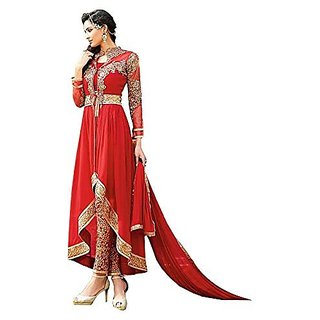Fashion Designer Red Color Embroidered Semi-stitched Salwar Suit Dress Material