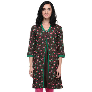 LeeZaro Brown Cotton Kurti for Women