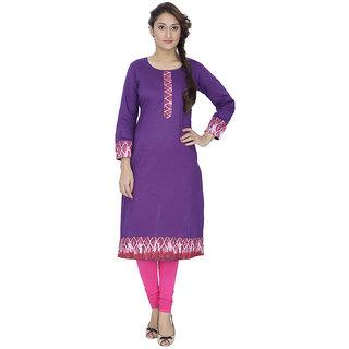 LeeZaro Purple Cotton Kurti for Women
