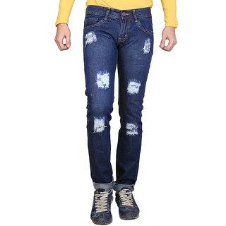 Ave Fashion - Blue Color Regular Slim Fit Monkey Wash Damage Cotton Jeans For Mens