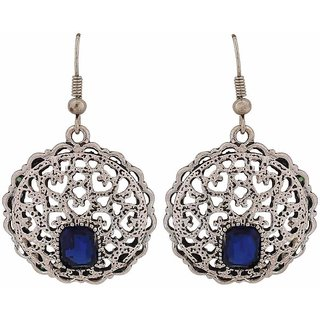 Maayra Class Blue Silver Filigree Party Dangler Earrings