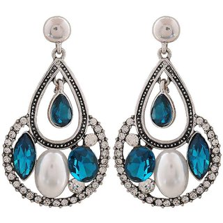 Maayra Terrific Blue White Stone Crystals Party Drop Earrings