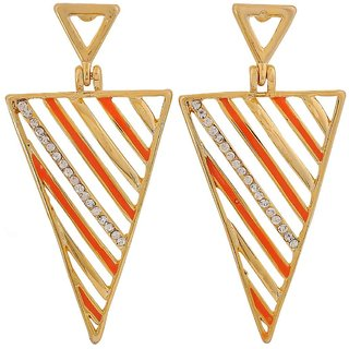 Maayra Beautiful Orange Gold Designer Party Drop Earrings