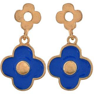Maayra Modern Blue Gold Designer Cocktail Drop Earrings