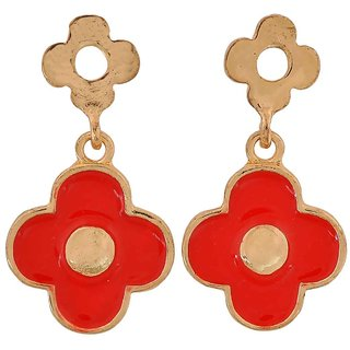 Maayra Sober Red Gold Designer Get-Together Drop Earrings