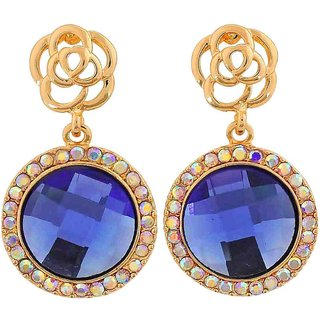 Maayra Cool Blue Gold Stone Crystals College Drop Earrings
