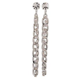 Maayra Exquisite Silver Stone Crystals Get-Together Drop Earrings