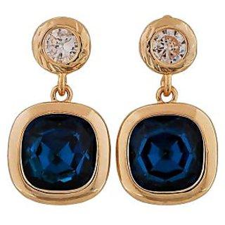 Maayra Trendy Blue Gold Stone Crystals Casualwear Drop Earrings