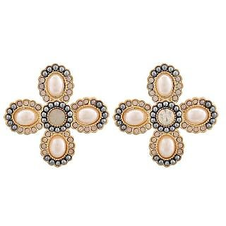 Maayra Bright Grey White Pearl Party Drop Earrings