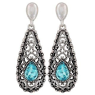 Maayra Cool Blue Black Kundan Cocktail Drop Earrings