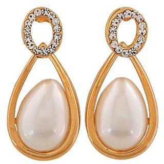 Maayra Classy White Gold Pearl Get-Together Drop Earrings