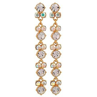 Maayra Adorable Gold Stone Crystals Casualwear Drop Earrings