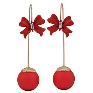 Maayra Sensual Red Designer Get-Together Drop Earrings