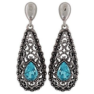 Maayra Fantastic Blue Silver Kundan College Drop Earrings