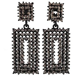 Maayra Sizzling Black Silver Designer Casualwear Drop Earrings