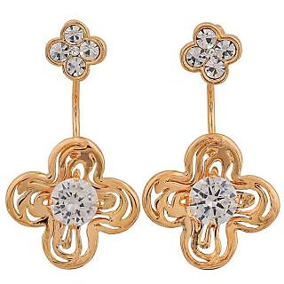 Maayra Smart Gold Stone Crystals Get-Together Drop Earrings