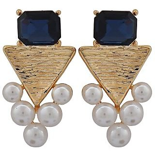 Maayra Sparkling Blue White Pearl Party Drop Earrings