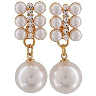 Maayra Graceful White Pearl College Drop Earrings