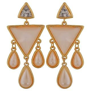 Maayra Great White Gold Pearl Party Drop Earrings