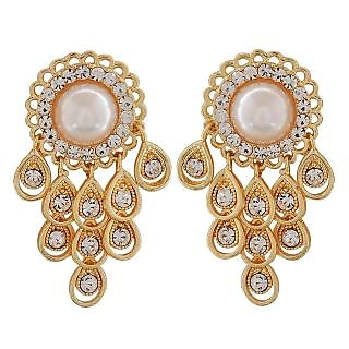 Maayra Lovely White Gold Pearl Get-Together Drop Earrings