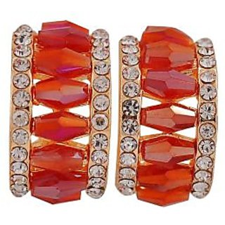 Maayra Hot Orange Stone Crystals Party Clip On Earrings