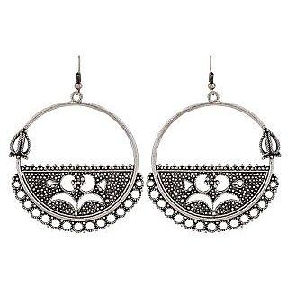 Maayra Cute Silver Designer Party Dangler Earrings