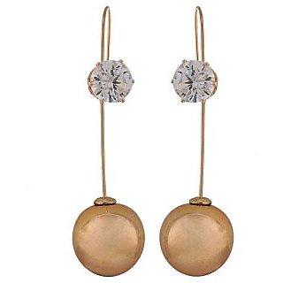Maayra Terrific Gold Designer Casualwear Drop Earrings