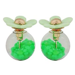 Maayra Shining Green Designer Party Glass Stud Earring