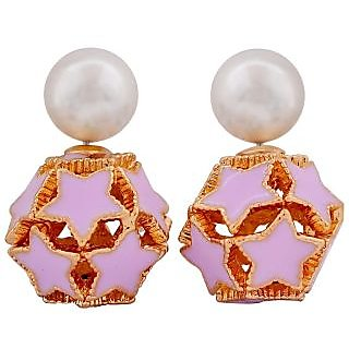 Maayra Exquisite White Blue Designer Party Stud Earrings