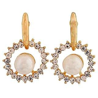 Maayra Bright White Gold Pearl Casualwear Drop Earrings