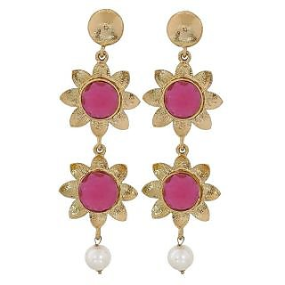 Maayra Lively Purple White Designer Wedding Drop Earrings
