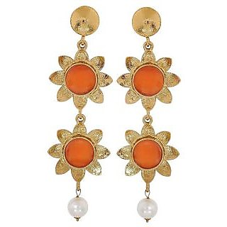 Maayra Graceful Orange White Designer Festival Drop Earrings