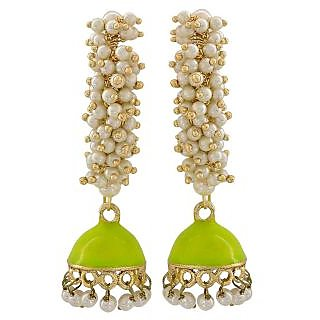 Maayra Artistic Yellow White Pearl Ceremony Jhumki Earrings