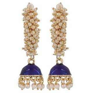 Maayra Beautiful Blue White Pearl Party Jhumki Earrings