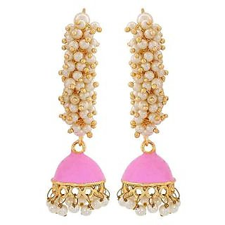 Maayra Cool Pink White Pearl Party Jhumki Earrings