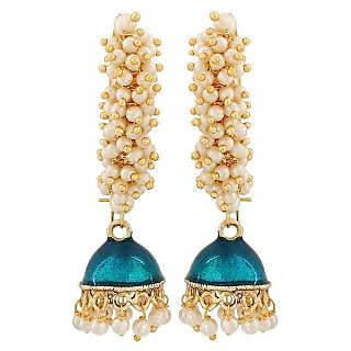 Maayra Classy Blue White Pearl Wedding Jhumki Earrings
