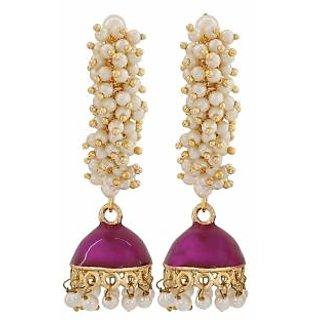 Maayra Dashing Purple White Pearl Sangeet Jhumki Earrings