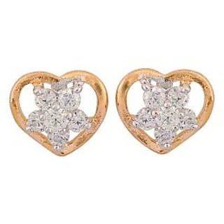 Maayra Cute Love Gold American Diamond Casualwear Stud Earrings
