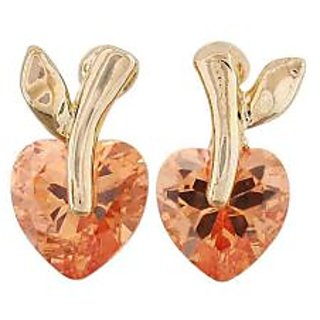 Maayra Cute Hearts Orange Gold Stone Crystals Party Stud Earrings